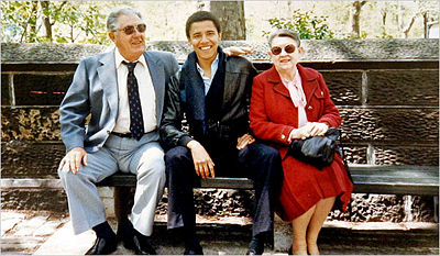 Barack Obama with his maternal grandparents, Stanley and Madelyn Dunham in the early 1980s when Mr. Obama was a student at Columbia University. Barack Obama's grandfather Stanley Dunham, grandmother Madelyn Dunham, and mother Stanley Ann Dunham lived in Ponca City from 1948 until 1951. Photo:  Obama for America
