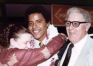 Barack Obama with his grandfather Stanley Dunham and his grandfather and Madelyn Dunham in 1979. This photo was probably taken when Obama's grandparents were living in Hawaii and Barack Obama was seventeen or eighteen years old. Photo:  AFP